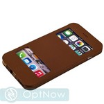 Чехол-книжка Jisoncase Genuine Leather Case для iPhone 6s Plus/ 6 Plus (5.5) JS-I6L-06C20 BROWN - Коричневый (с окошком) ORIG - фото 22636
