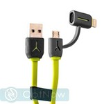 USB дата-кабель iBacks Multifunctional High-speed Cable-Speeder Series 2в1 lightning & microUSB (1.0 м) - (ip60257) Green/ Gray - фото 27807