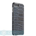 "Накладка кожаная XOOMZ для iPhone 7 Plus (5.5"") Electroplating Crocodile Embossed Genuine (XIP7010bl) Черная - фото 43167"