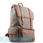 Рюкзак i-Carer 420x350x170mm Leather and Fabric Durable Travel Hiking Backpack (RSJ-01-B1grey) Серый - фото 47906
