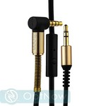 Кабель с микрофоном Hoco UPA02 AUX Spring Audio Cable (with mic) 3.5mm (2.0 м) Black Черный - фото 32027