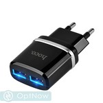 Адаптер питания Hoco C12 Smart dual USB charger Apple&Android (2USB: 5V max 2.4A) Черный - фото 64774
